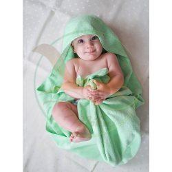 VIXI Gyermek kapucnis fürdőlepedő almazöld (90x90)